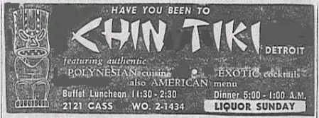 Chin Tiki advertisement, from SNWEB.ORG