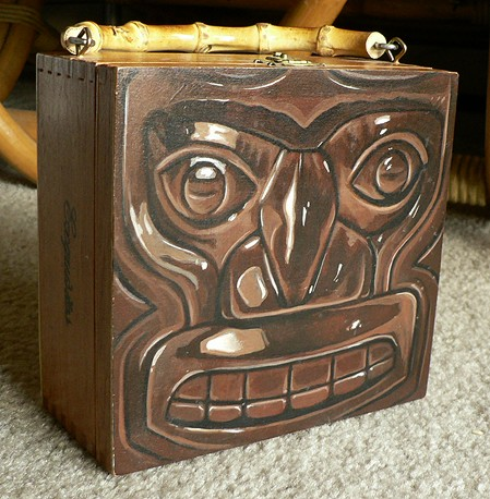 Cigar box Tiki purse, by Flounder