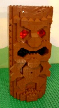 Tiki mug made of Legos