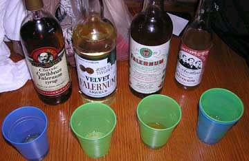 Falernum taste test at Hukilau 2004, photo by James Teitelbaum
