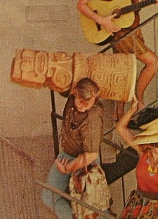 Picture of a tiki conga drum, from the collection of Sabu the Coconut Boy
