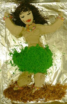 Completed hula girl cake