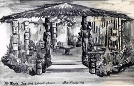 Rendering of Trade Winds' Tiki Temple by decorator Ione Keenan, from the collection of Tim Keenan