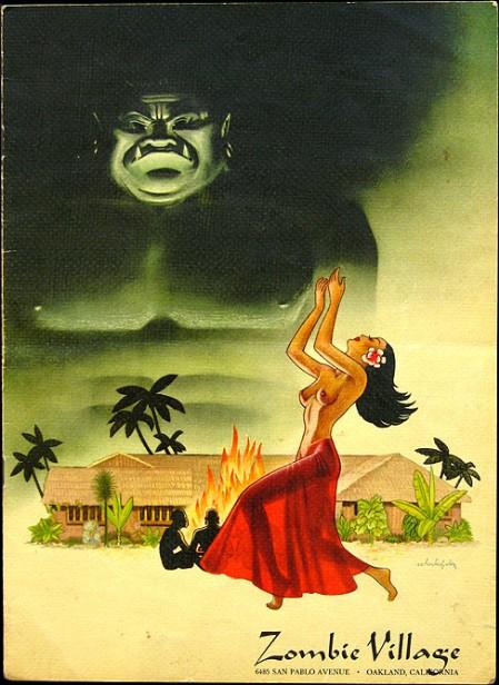 1950s menu from Zombie Village in Oakland, from Mimi Payne's Arkiva Tropika