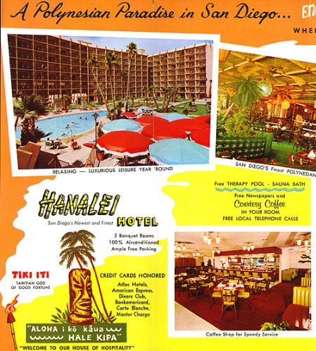 '60s brochure for the Hanalei Hotel in San Diego, from Arkiva Tropika