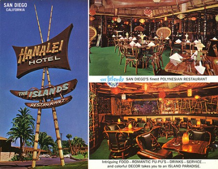 '60s postcard for the Hanalei Hotel in San Diego, from Arkiva Tropika