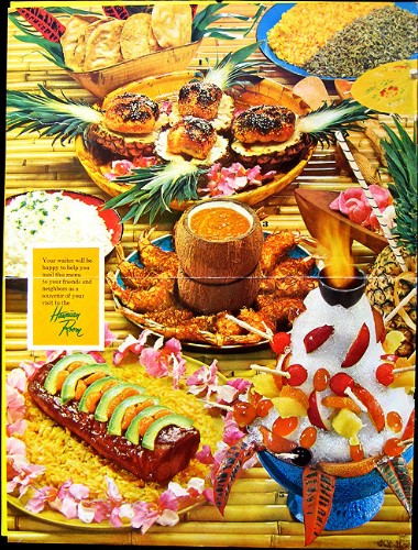 Back of a 1964 menu from the Hawaiian Room in New York City, from Mimi Payne's Arkiva Tropika