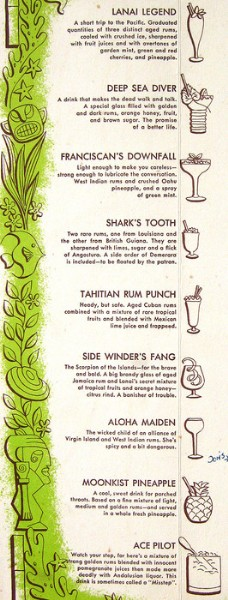 Detail from 1952 cocktail menu from Lanai in San Mateo, from Arkiva Tropika