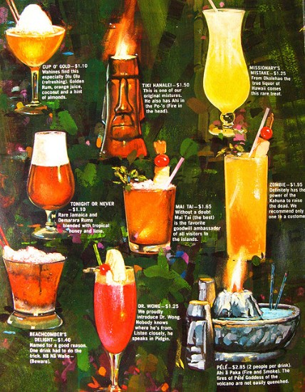 Page from a '60s cocktail menu from the Islands restaurant, from Arkiva Tropika