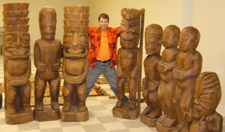 Robert Volz with tikis from New York Trader Vic's