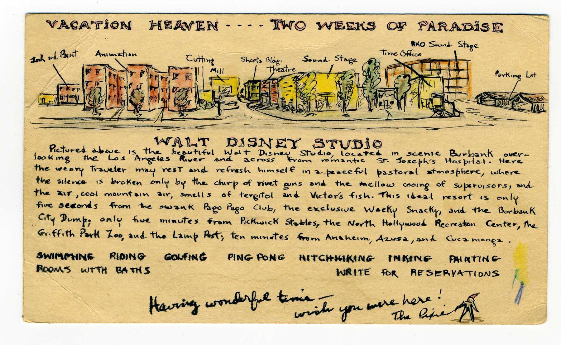 Artist's rendering of the Walt Disney Studios in 1947, from the collection of Matterhorn1959