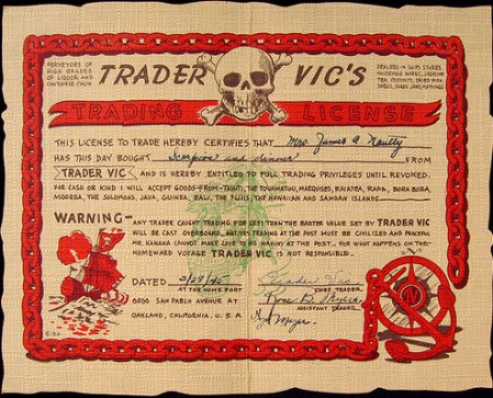Trader Vic's Trading License, from Arkiva Tropika