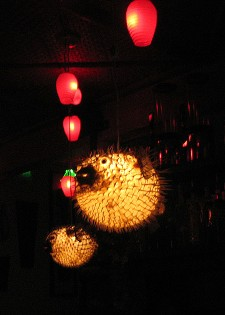 Swanky's pufferfish lamps at Hula Hula, photo by Exoticat