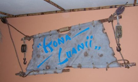 A battered sail from the Kona Luanii