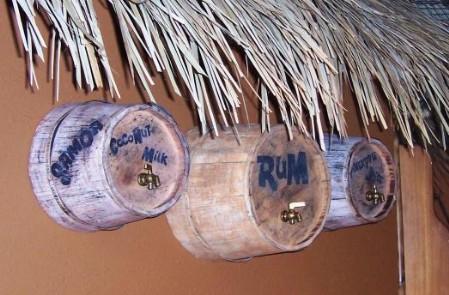 Barrels of rum, coconut milk and pineapple juice
