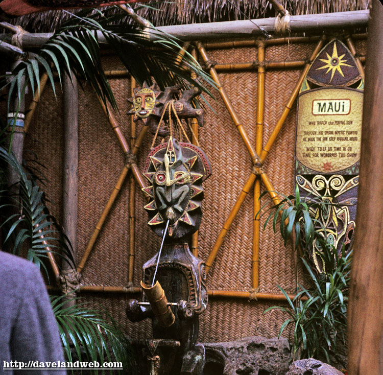 1968 photo of Maui at the Enchanted Tiki Room, from the Daveland blog