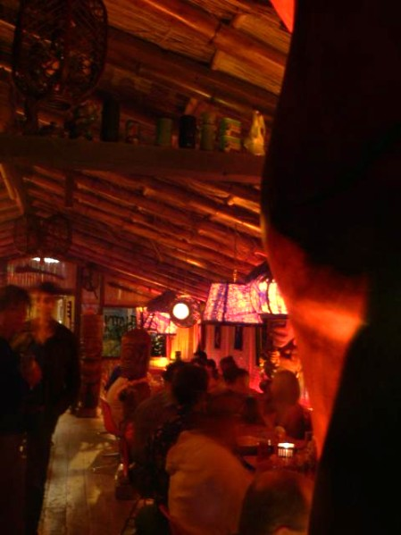 View of Thatch from behind a tiki's bum