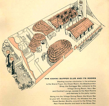 Vintage rendering of the Kahiki interior, from the Columbus Dispatch