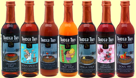 An assortment of Trader Tiki syrups
