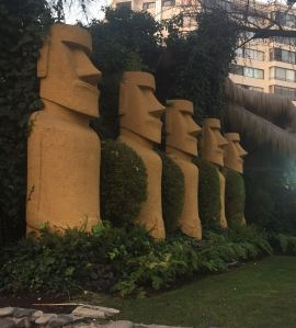 Row of massive moai standing guard