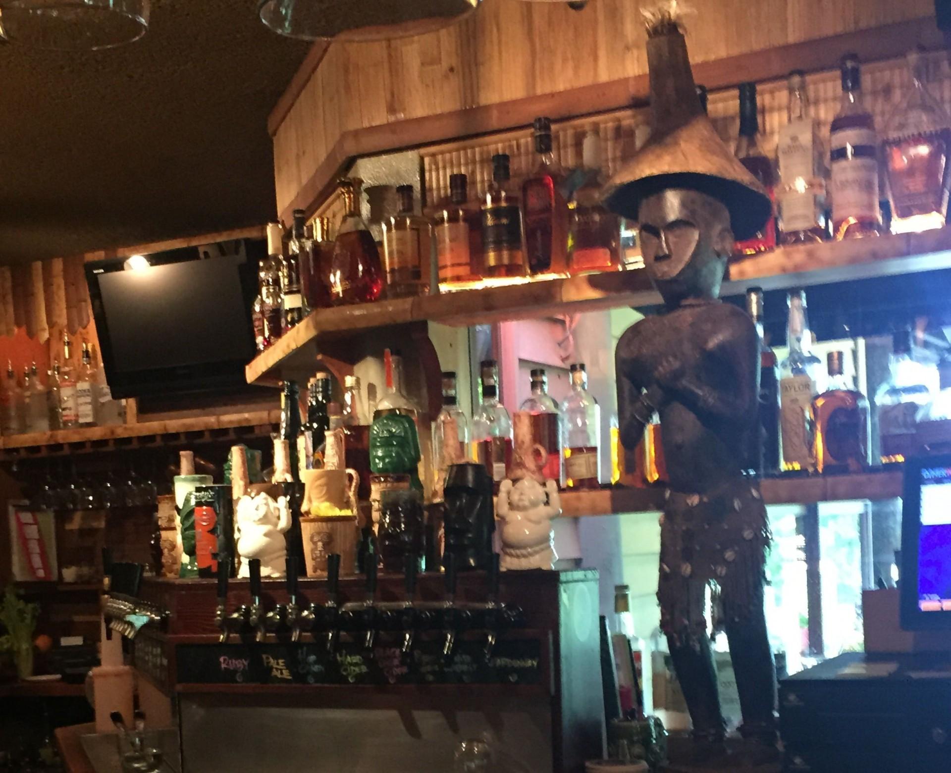 Behind the bar at Kapu Hut