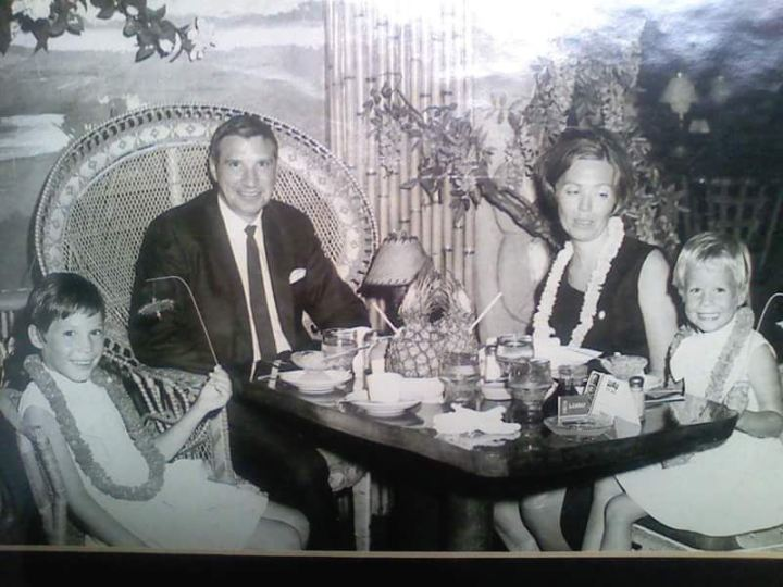 The Novack family dines at Miami Beach's Luau in 1968