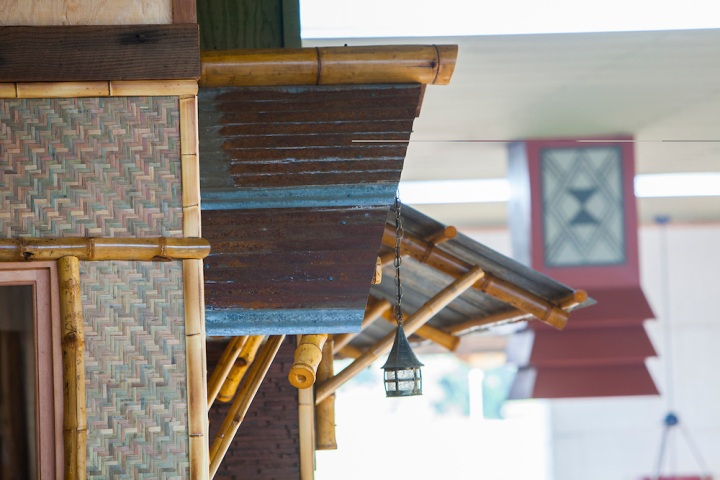 Framing details of the tiki bar
