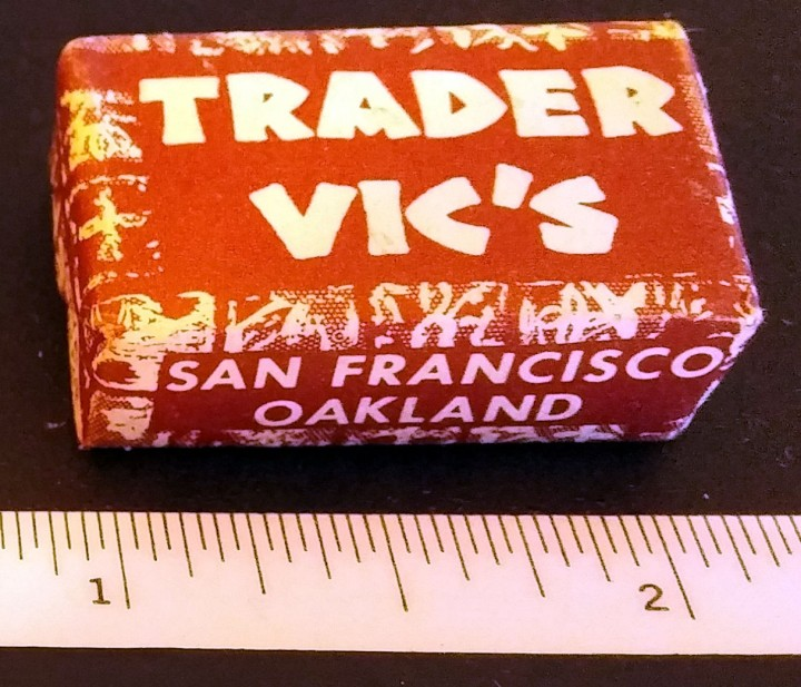 Wrapped sugar cube from Trader Vic's in Oakland