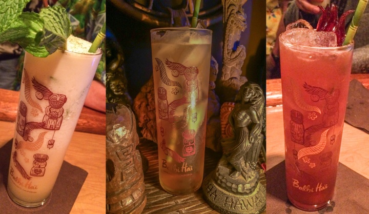Voodoo Grog, Dark & Stormy and Singapore Sling, served in Balhi Ha'i glasses