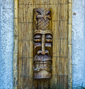 Tiki at the entrance to Purple Orchid