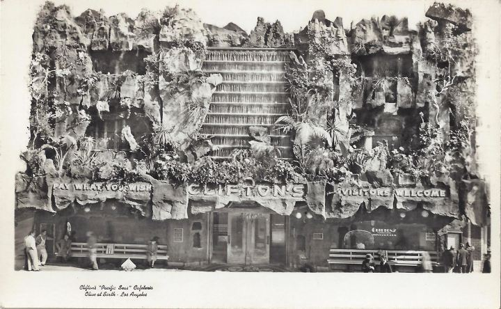 The facade of Clifton's Pacific Seas, from the collection of Mano-Tiki-Tia