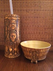 Souvenir tiki sipper and bowl from the Dole Whip stand at Disneyland