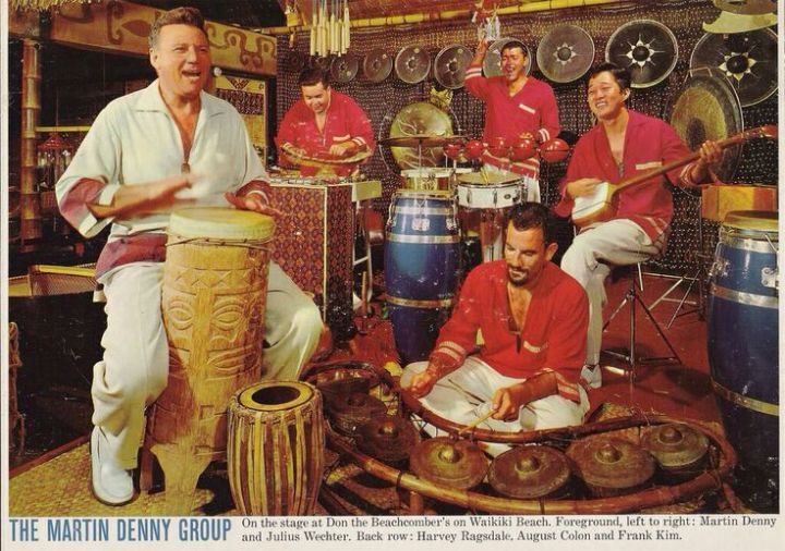 Martin Denny and his band on stage at Don the Beachcomber in Waikiki, circa 1961