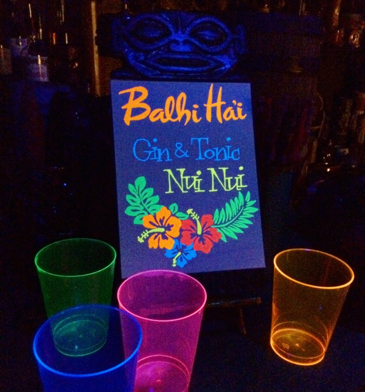 Drink menu for Blacklight Aloha night at Balhi Hai