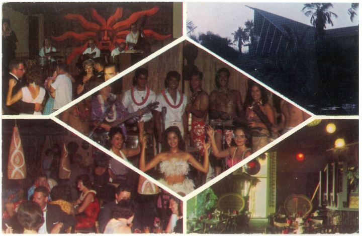 A 1960s postcard from the Royal Tahitian in Ontario, California shows live musicians, Polynesian dancers, and restaurant patrons on the dance floor.
