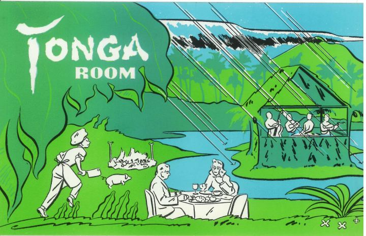 An early postcard for the Tonga Room in San Francisco includes a drawing of the house band