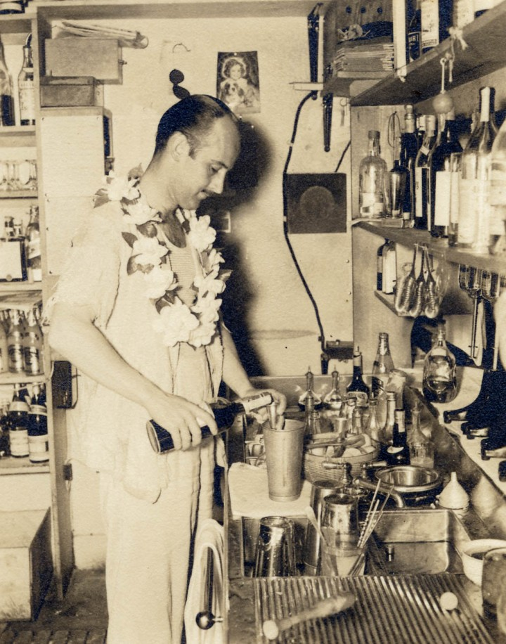 Don the Beachcomber, mixing behind the scenes