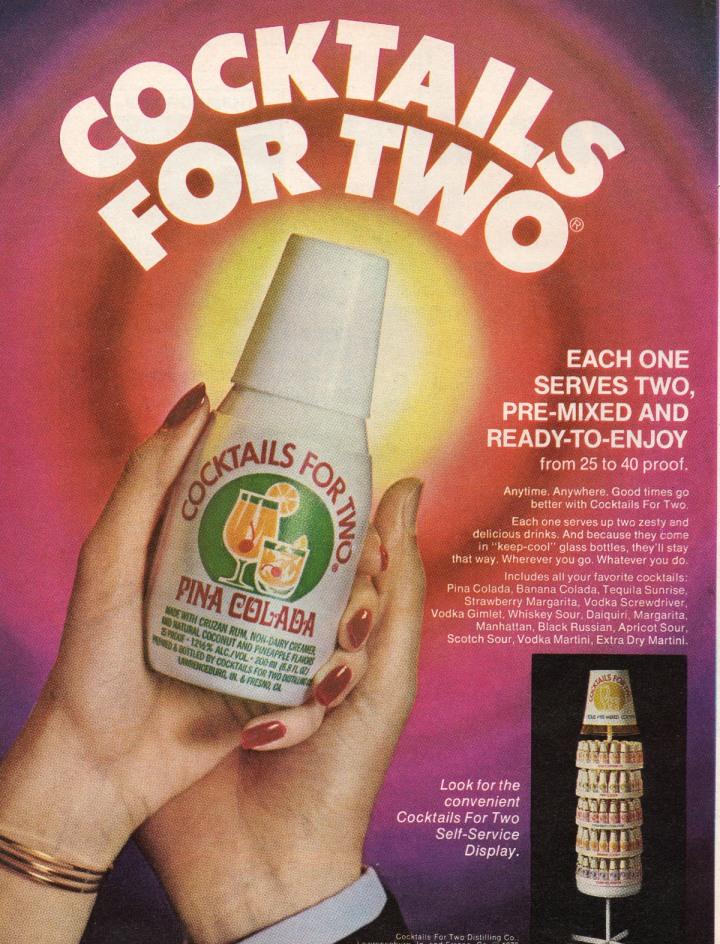Ad for packaged Piña Coladas, circa 1980