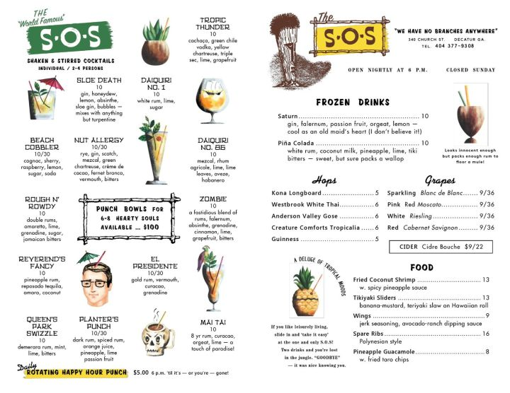 Menu for The S.O.S.