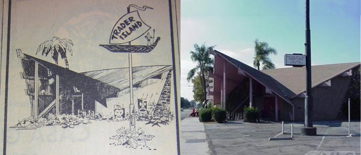 Left: a late '60s ad fro Trader Island, right: current photo from the property listing