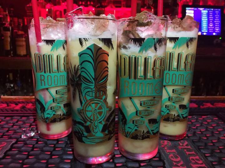 Souvenir tiki glasses from the Diller Room in Seattle