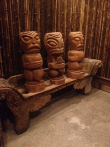 Cannibal tiki trio at North Shore Lagoon in Bothell, photo by Critiki member Selector Lopaka