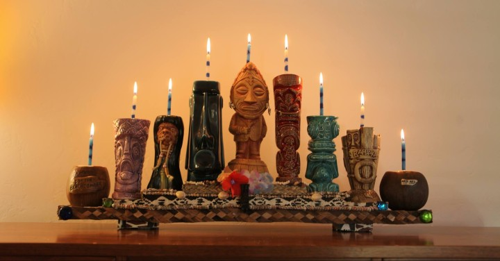 Tiki Mug Menorah, by Poly Hai