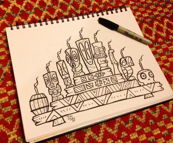 A page from Tiki tOny's tiki holiday coloring book