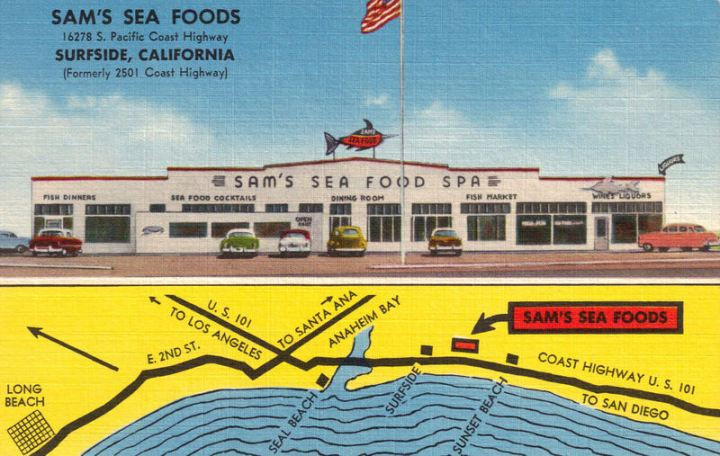 Postcard from Sam's Seafood's early, pre-tiki days