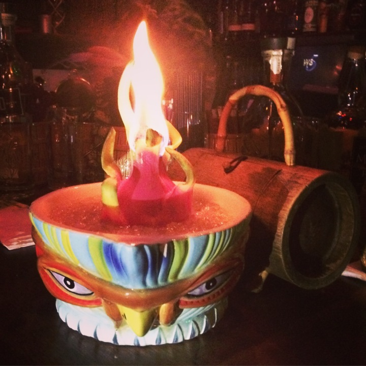 Flaming scorpion bowl, in a vintage Steve Crane bird bowl, with a dragonfruit volcano insert.