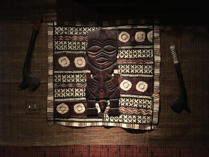 Fijian tapa, abaca cloth, and bamboo slat wainscoting at Balhi Ha'i.