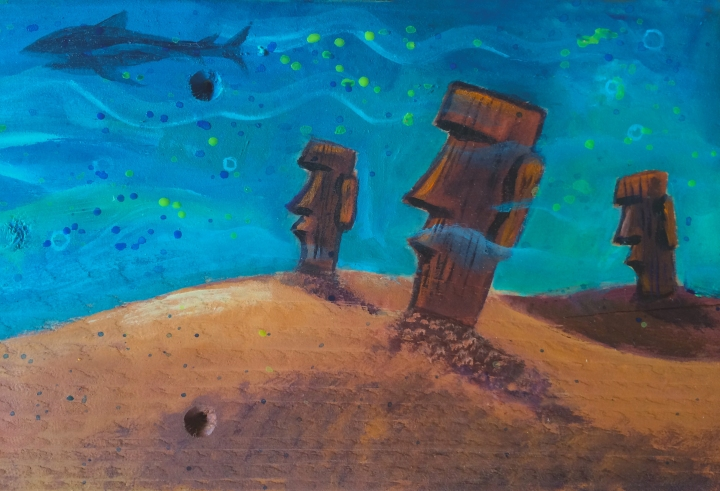Undersea moai detail from painting by Christine Benjamin