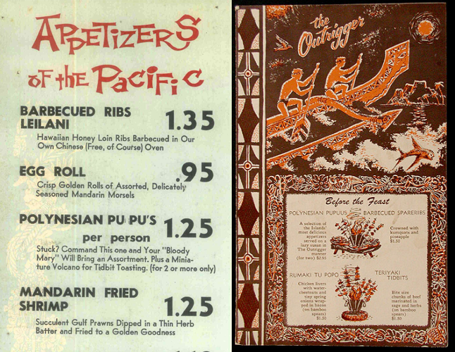 Early appearances of the flaming Pu-Pu Platter on menus. Left, Pub-Tiki in Philadelphia, circa 1960s. Right, Mark Thomas Outrigger in Monterey, 1962.