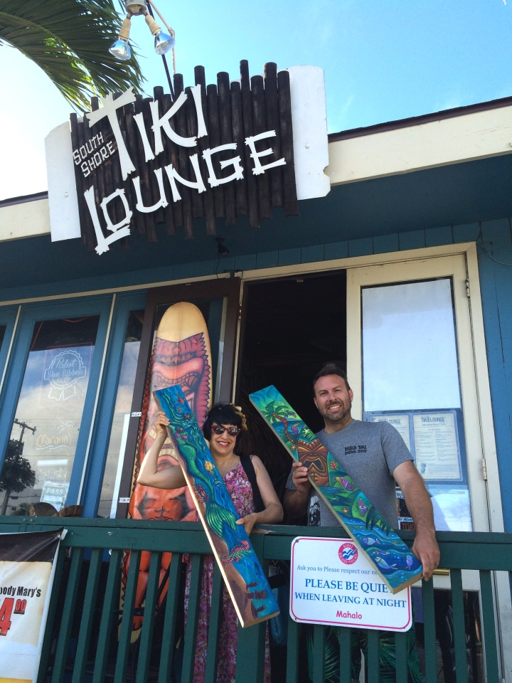 Christine and Woody at the South Shore Tiki Lounge in Kihei, Maui